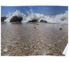 Wave Crashing on Rocks Poster