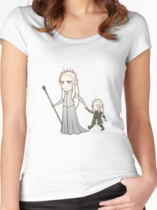 Papa Elf and Baby Leaf Women's Fitted Scoop T-Shirt