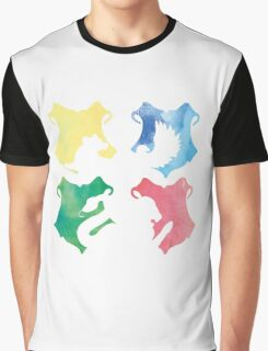 Hogwarts Houses Watercolor  Graphic T-Shirt