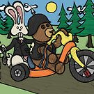 Teddy Bear And Bunny - Easy Rider by Brett Gilbert