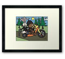 Teddy Bear And Bunny - Easy Rider Framed Print