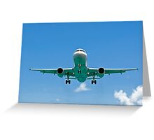 Air transportation: passenger airplane. Greeting Card