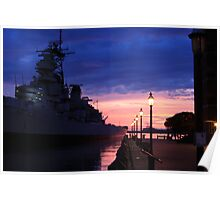 USS Wisconsin Sunset Poster