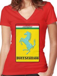Butt Stallion Women's Fitted V-Neck T-Shirt