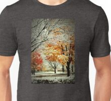 Snow Covered Fall Trees in MIchigan Unisex T-Shirt