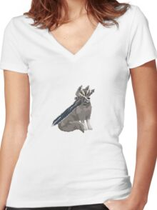 Pixel Souls - Sif, The Great Grey Wolf Women's Fitted V-Neck T-Shirt