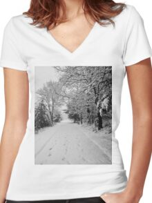 First Snowstorm Women's Fitted V-Neck T-Shirt