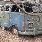 Retro Hippie Bus Junker in the Woods by dww25921