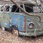Retro Hippie Bus Junker in the Woods by dww25921