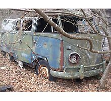 Retro Hippie Bus Junker in the Woods Photographic Print