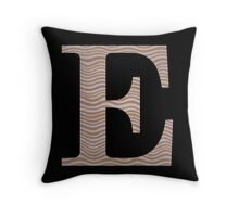 Letter E Metallic Look Stripes Silver Gold Copper Throw Pillow