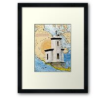 Cattle Pt Lighthouse WA Nautical Map Cathy Peek Framed Print