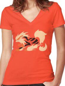 Legendary Flame - Arcanine (Fierce) Women's Fitted V-Neck T-Shirt