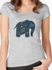 blue embroidered elephant Women's Fitted Scoop T-Shirt