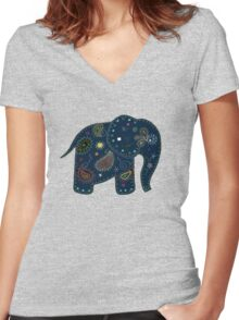 blue embroidered elephant Women's Fitted V-Neck T-Shirt