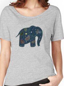 blue embroidered elephant Women's Relaxed Fit T-Shirt