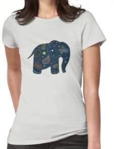 blue embroidered elephant Womens Fitted T-Shirt