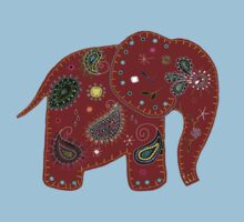 Red embroidered elephant Kids Tee