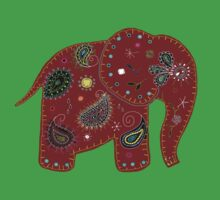 Red embroidered elephant One Piece - Short Sleeve