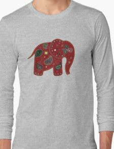 Red embroidered elephant Long Sleeve T-Shirt