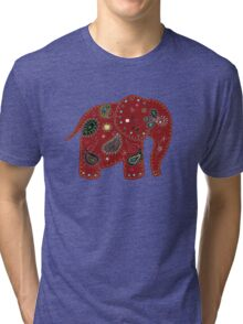 Red embroidered elephant Tri-blend T-Shirt