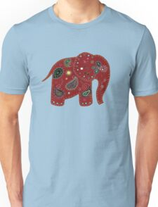 Red embroidered elephant Unisex T-Shirt