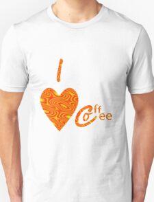 I Love Coffee Peach And Yellow Unisex T-Shirt