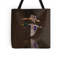 The flight of the Mallard Tote Bag