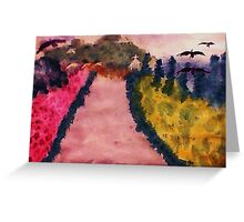 Down the lane (Fauve), watercolor Greeting Card