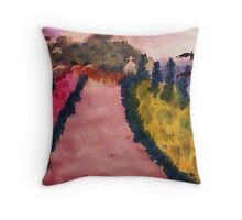 Down the lane (Fauve), watercolor Throw Pillow