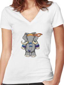 ninjitzoo - dung fu Women's Fitted V-Neck T-Shirt