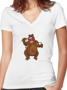ninjitzoo - foe grizzle Women's Fitted V-Neck T-Shirt