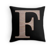 Letter F Metallic Look Stripes Silver Gold Copper Throw Pillow