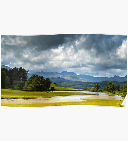 Dramatic Clouds over Langdale Pikes Poster