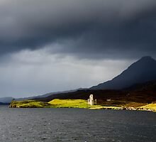 Ardcreck Castle and Quinag, Loch Assynt, Scotland by Asher Haynes