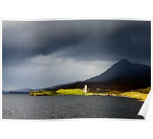 Ardcreck Castle and Quinag, Loch Assynt, Scotland Poster
