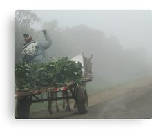 Off to market one misty morning Canvas Print
