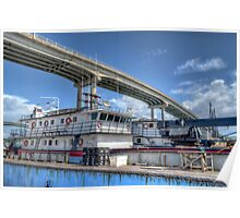 Cargo Boats docked at Potter's Cay under Paradise Island Bridge - Nassau, The Bahamas Poster