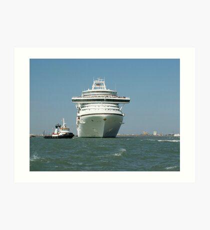 Ocean liner and boat  Art Print