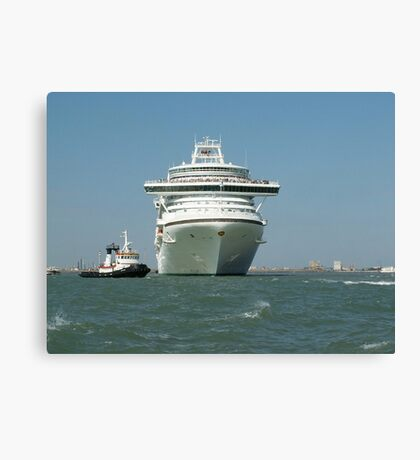Ocean liner and boat  Canvas Print
