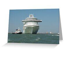 Ocean liner and boat  Greeting Card