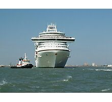 Ocean liner and boat  Photographic Print