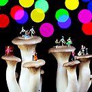 Dancing on mushroom under starry night by Paul Ge