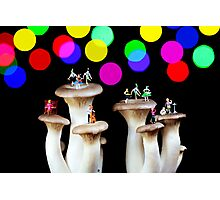 Dancing on mushroom under starry night Photographic Print