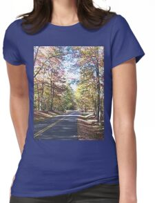 Rustic West Virginia Country Road in Autumn Womens Fitted T-Shirt