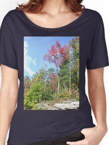 Pretty Rustic Appalachia Scene Rock & Trees Women's Relaxed Fit T-Shirt