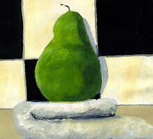 Pear on towel by Simon Rudd