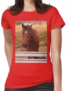 Pretty Brown Horse by a Fence in West Virginia Womens Fitted T-Shirt