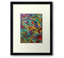 FIREWORKS IN COLOR - Bold Abstract Acrylic Painting Lovely Masculine Colorful Splash Pattern Gift Framed Print