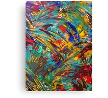 FIREWORKS IN COLOR - Bold Abstract Acrylic Painting Lovely Masculine Colorful Splash Pattern Gift Canvas Print